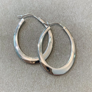 Sterling Silver Oval Flat Creole Earrings