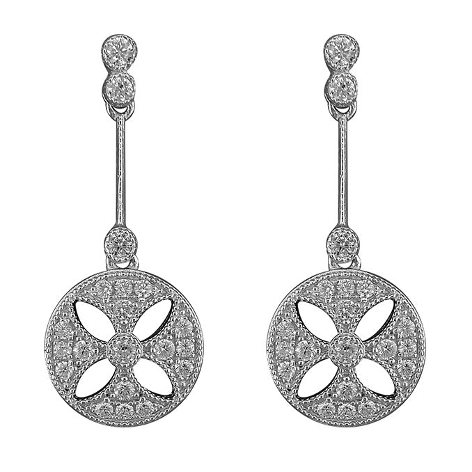 Sterling Silver Art Deco Circle Flower Drop Earrings