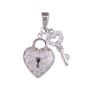 Sterling Silver Diamante Heart Lock and Key Necklace