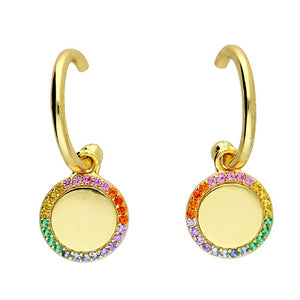 18ct Gold-Plated Rainbow Disc Hoops