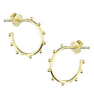18ct Gold Plated Beaded Hoop Studs