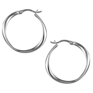 Sterling Silver Oval Twisted Hinged Hoops