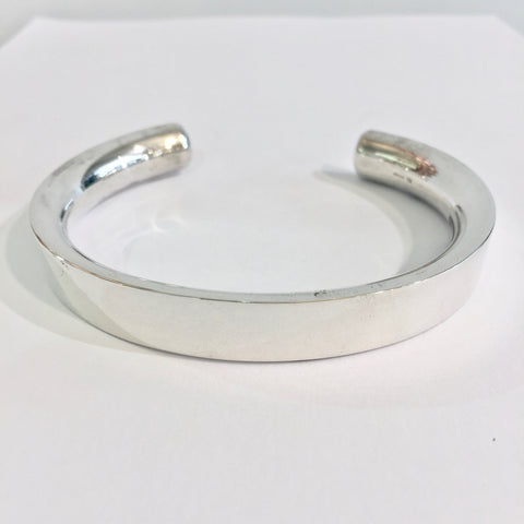 Inverted D Shape Heavy Silver Cuff - WB37SL