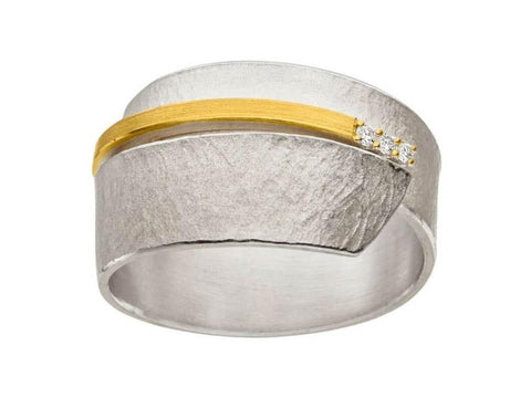 Silver & Gold Wrap Ring with Trio of Diamond
