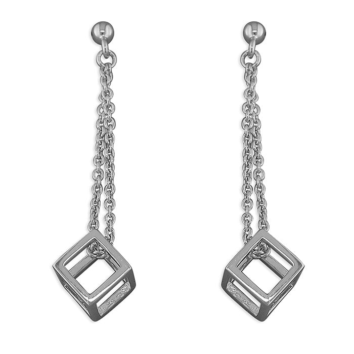 Rhodium Plated Cube Drop Earrings