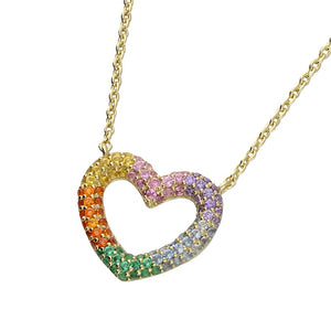 18ct Gold Plated Rainbow Heart Necklace