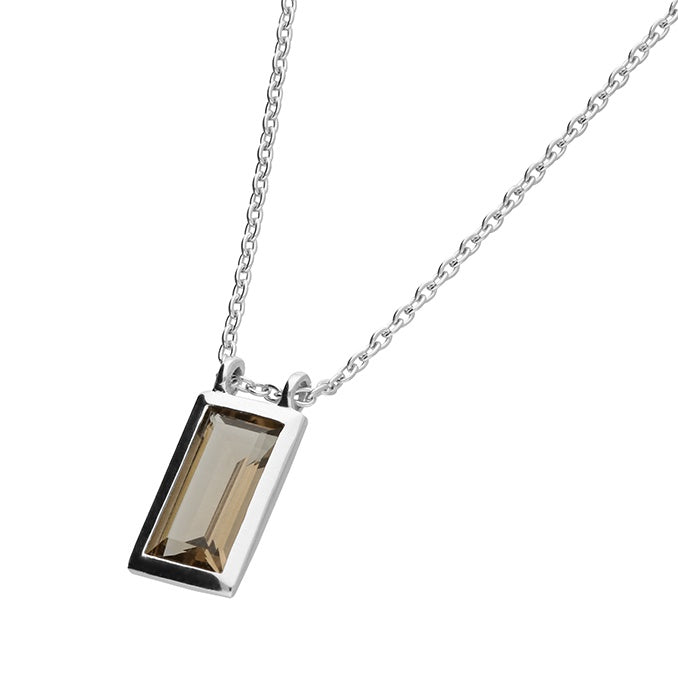 Sterling Silver Smoky Rectangular Necklace
