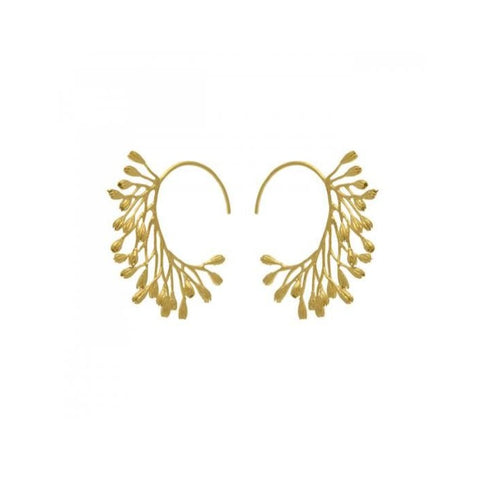 Fanned Seeded Hoop Earrings - NLE6-GP