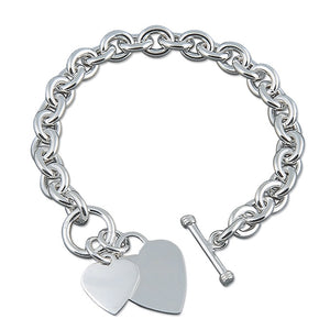 Sterling Silver Heavy Double Heart Bracelet