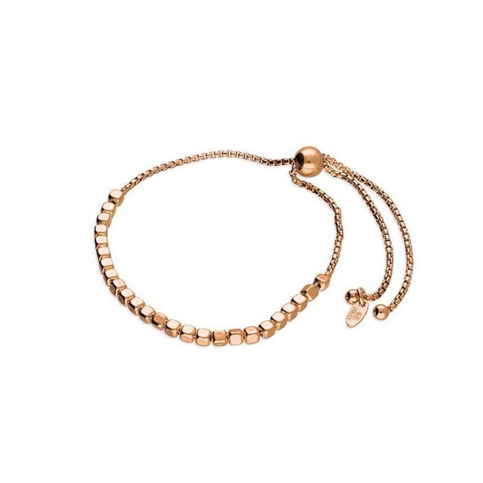 18ct Rose Gold Cube Bead Bracelet