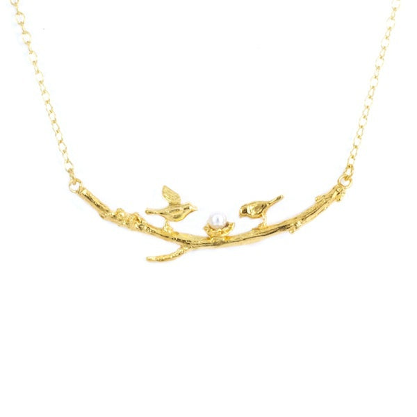 Alex Monroe Two Birds on Branch Gold Necklace - TGN3/GP