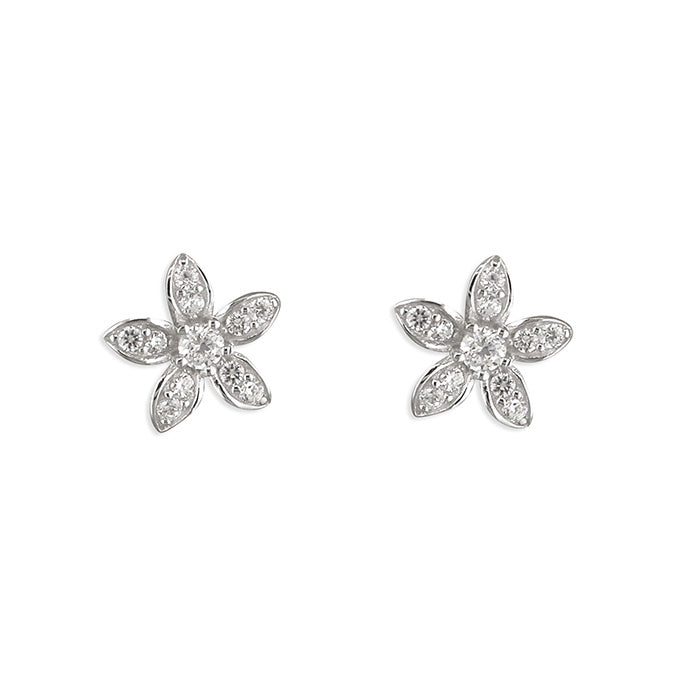 Sterling Silver Diamante Small Flower Studs