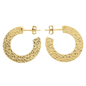 18ct Gold Plated Crescent Stud Hoops