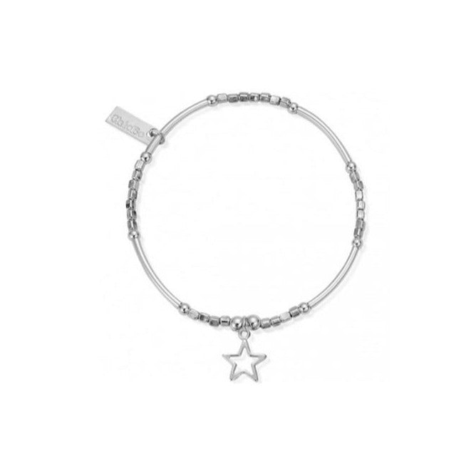 ChloBo Mini Noodle Cube with Open Star Silver Bracelet