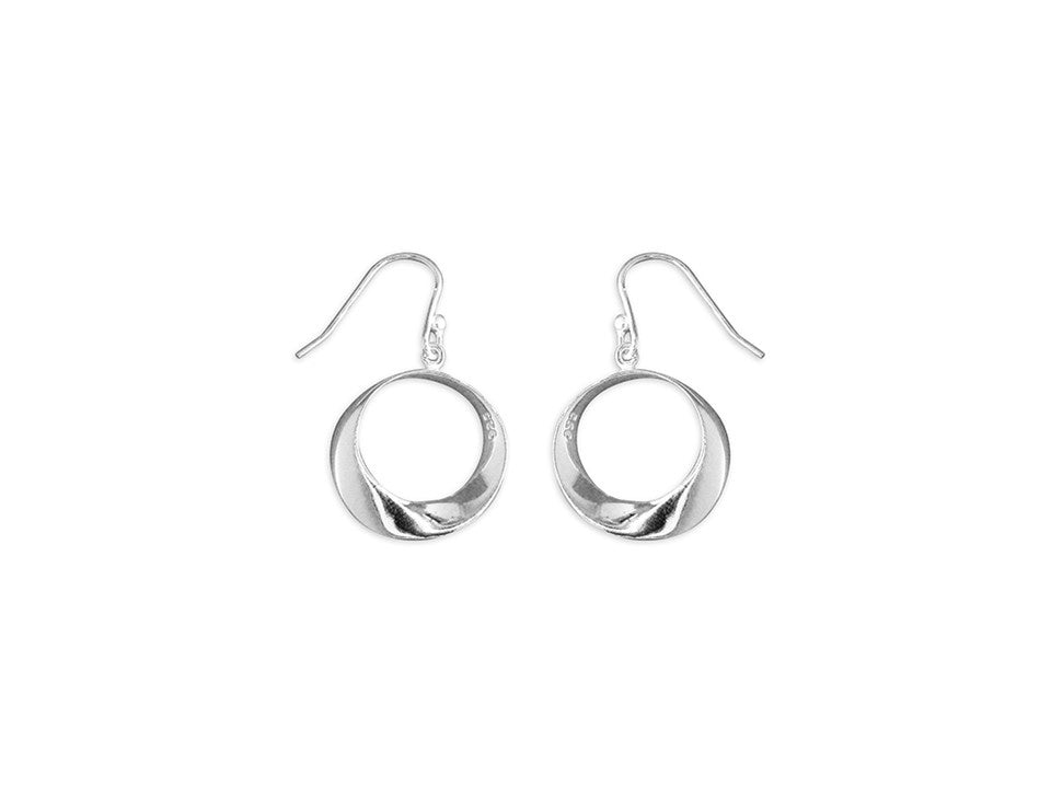 Sterling Silver Graduated Twist Hoop Drop Earrings