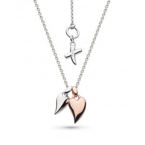 18ct Rose Gold Desire Kiss Twin Mini Heart Necklace