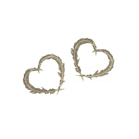 Silver Delicate Feather Heart Stud Earrings - FSE6-S