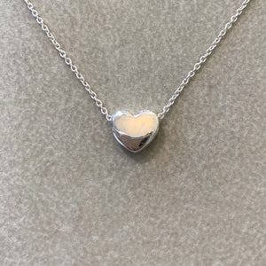 Sterling Silver Sliding Heart Bead Necklace