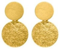 Brushed Gold Two Disc Earrings