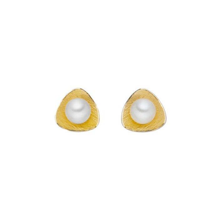 Concave Pearl Stud Earrings