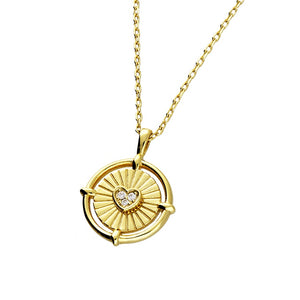 Golden Disc with Sparkle Heart Necklace, 18ct Gold Plated