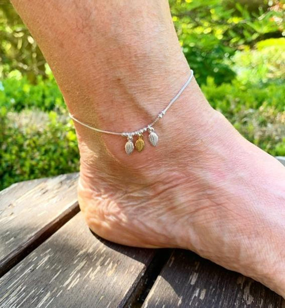 2 Tone Leaves Anklet