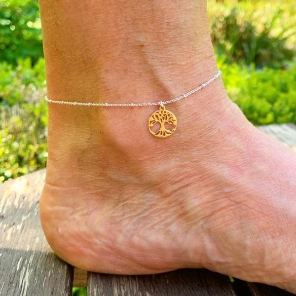 18ct Rose Gold Tree of Life Charm Anklet