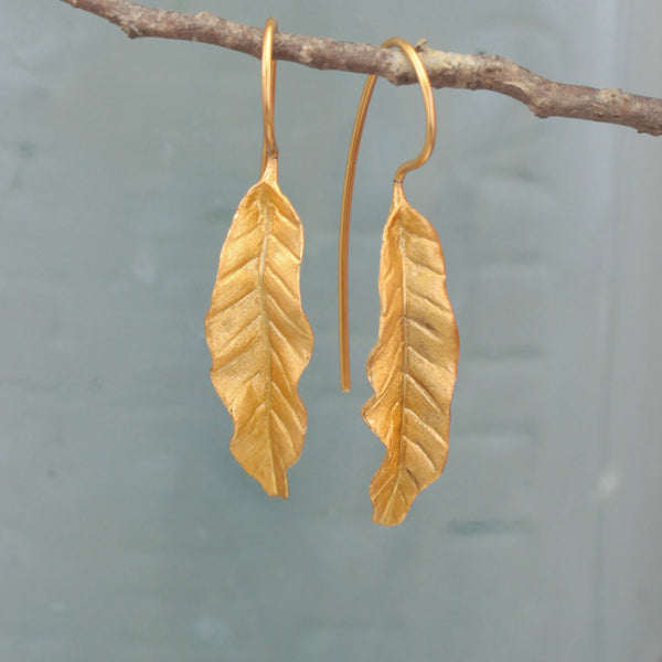 Golden Banana Leaf Earrings