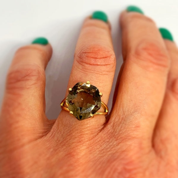 9ct Yellow Gold & Whiskey Quartz Ring