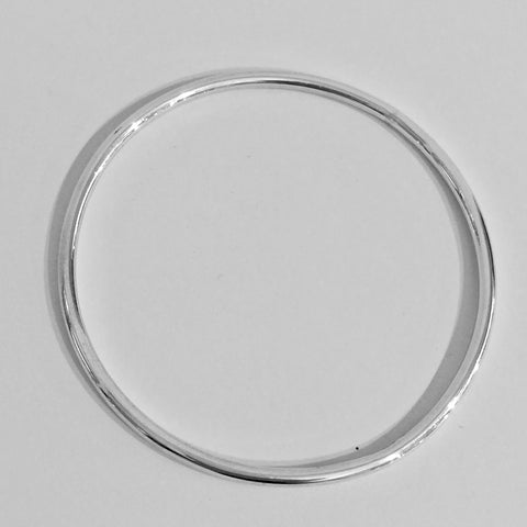 Silver 3mm Wire Polished Bangle - WB1S