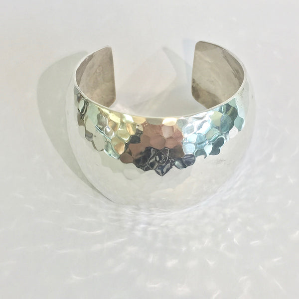 Silver 5cm Wide Hammered Domed Cuff - WB29L