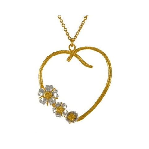 Alex Monroe Silver & Gold Wild Rose Heart Necklace - PPN10/MX