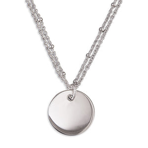 Sterling SilverDouble Station Bead Disc Necklace