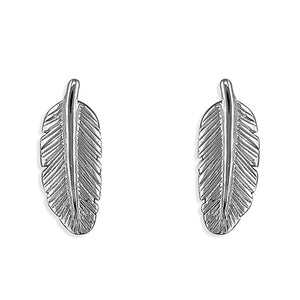 Sterling Silver Small Feather Studs