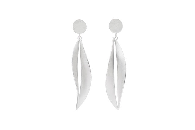 Brushed Silver Wavy Leaves Earring