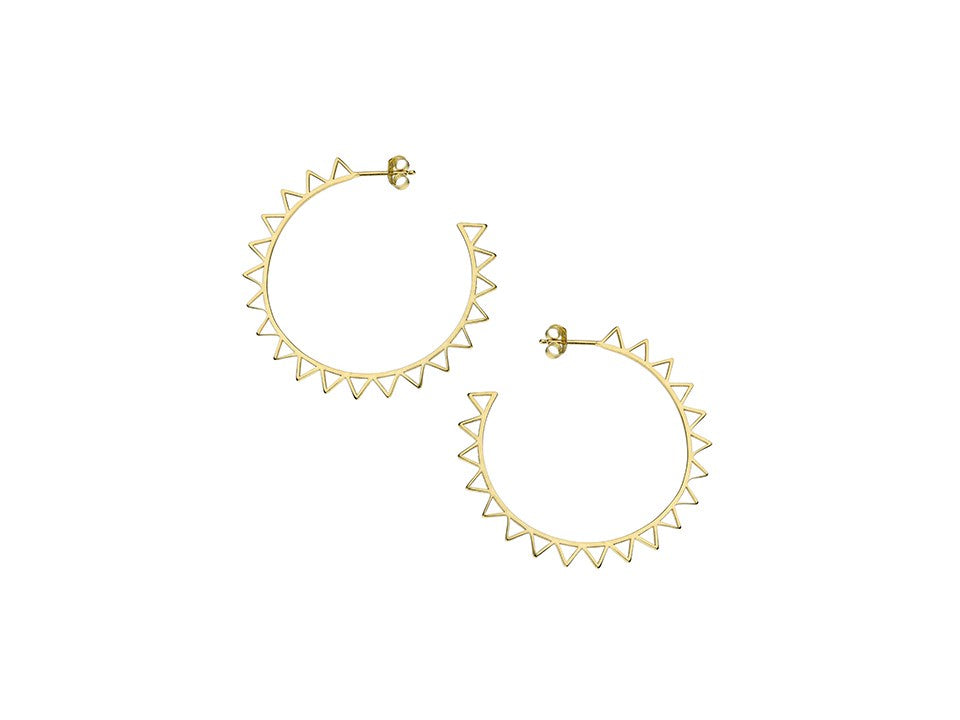 Large 18ct Gold Plated Sun hoops
