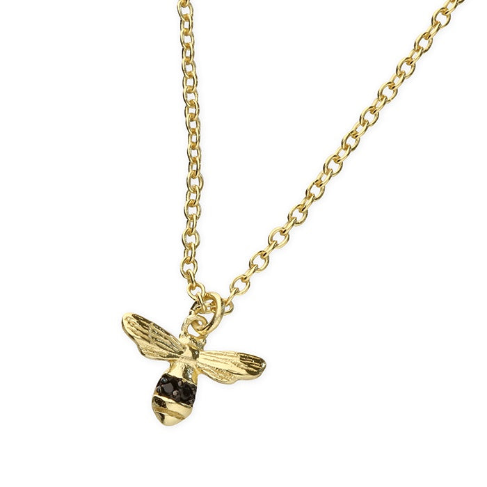 18ct Gold Plated Bee Black Detail Necklace
