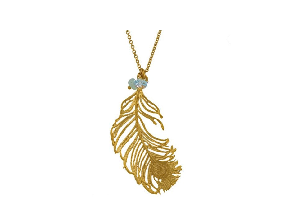 Alex Monroe Gold Peacock Feather Necklace - PCN1-GP
