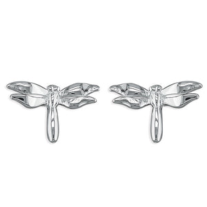 Sterling Silver Plain Dragonfly Studs