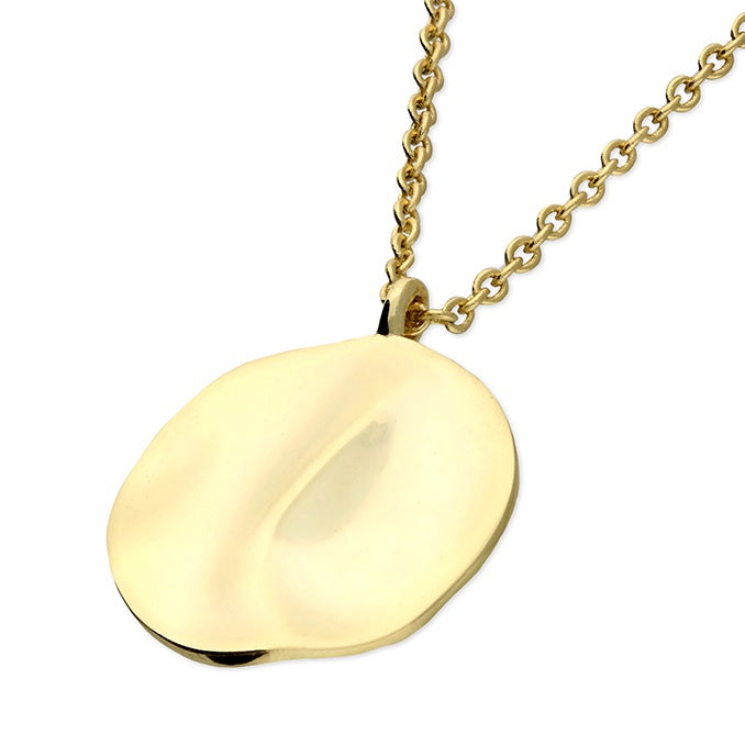 18ct Gold Plated Textured Plate Necklace