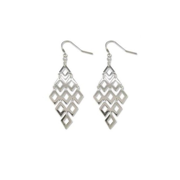 Sterling Silver Linked Diamond Shapes Drops