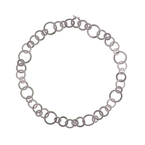 Brushed Silver Multi Circles Necklace