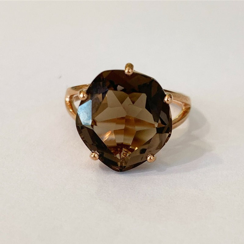9ct Rose Gold with Smoky Quartz Ring