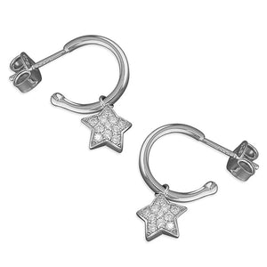 Sterling Silver Star Charm Stud Hoops