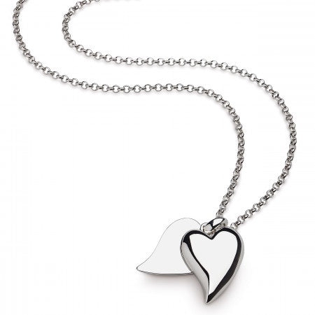 Sterling Silver Desire Love Duet Large Heart Necklace