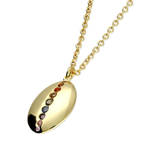 Rainbow 18ct Gold Plated Oval Necklace