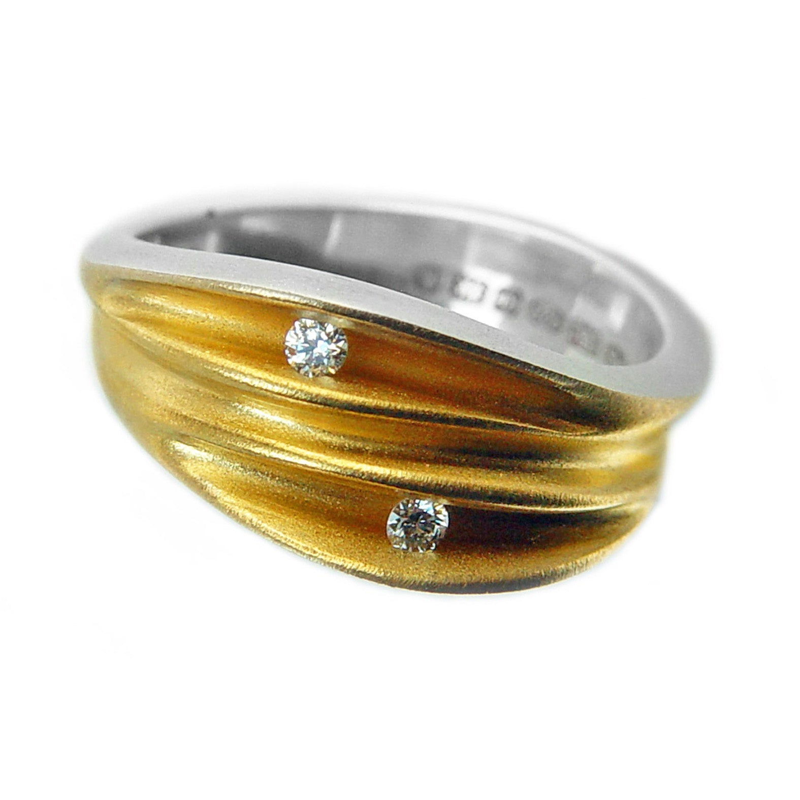 Duo Diamond Silver Shell Ring