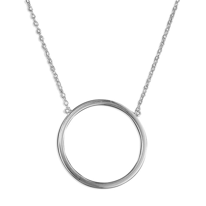 Sterling Silver Plain Circle on Chain Necklace