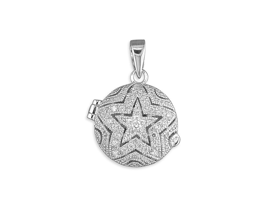 Sterling Silver Locket Round with CZ Star Pattern Necklace