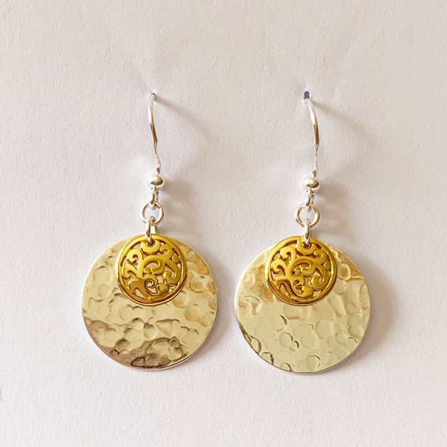 18ct Gold Plated Disc Drop Earrings